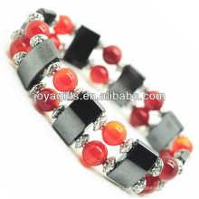 Magnetisches Hämatit Space Armband mit Legierung und 8MM Red Achat Runde Perlen