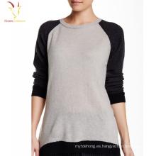Camisa de blusa con cuello barco de manga larga casual para mujer