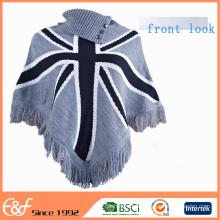 Benutzerdefinierte Damen Winter Poncho Mäntel Free Gestrickte Poncho-Muster