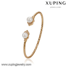 51773 jóias xuping 18k banhado a ouro elegante dupla pérola pulseira