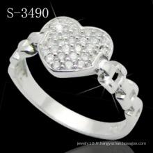 Bague en argent sterling 925 avec style de coeur conçu (S-3490)