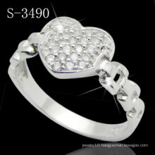 925 Sterling Silver Ring with Heart Style Designed (S-3490)