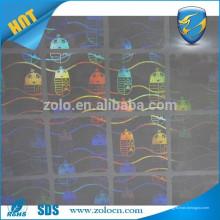 Pegatinas de holograma transparentes anti-falsas / lámina holográfica transparente