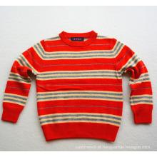 Crianças novo design listrada tricô suéter de cashmere pullover