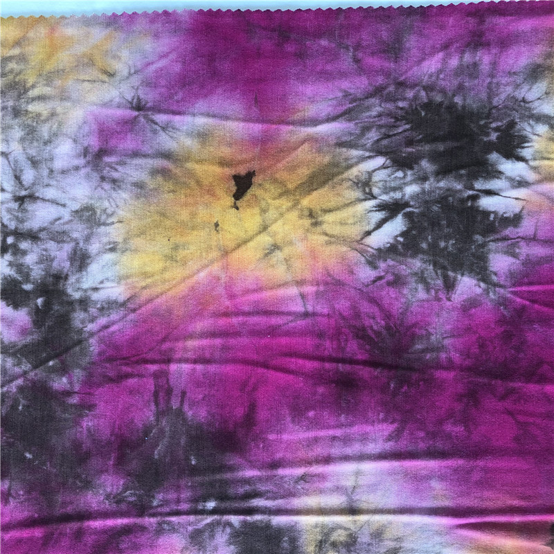 bright colored knitted rayon tie dyed fabric