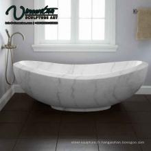 2018 Nouvelle baignoire autoportante en marbre blanc Prix à vendre
