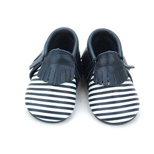 Unisex Crib Shoes Stripes Baby Mocassins