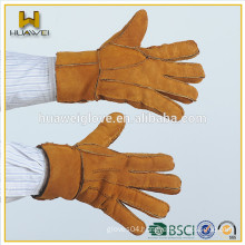 External Sewing Splicing Leather Men Leather Gloves Brown Color,Low Price Double Face Leather Gloves