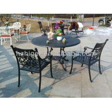 fábrica directa al aire libre muebles de patio molde de aluminio jardín de hierro forjado mesas y silla