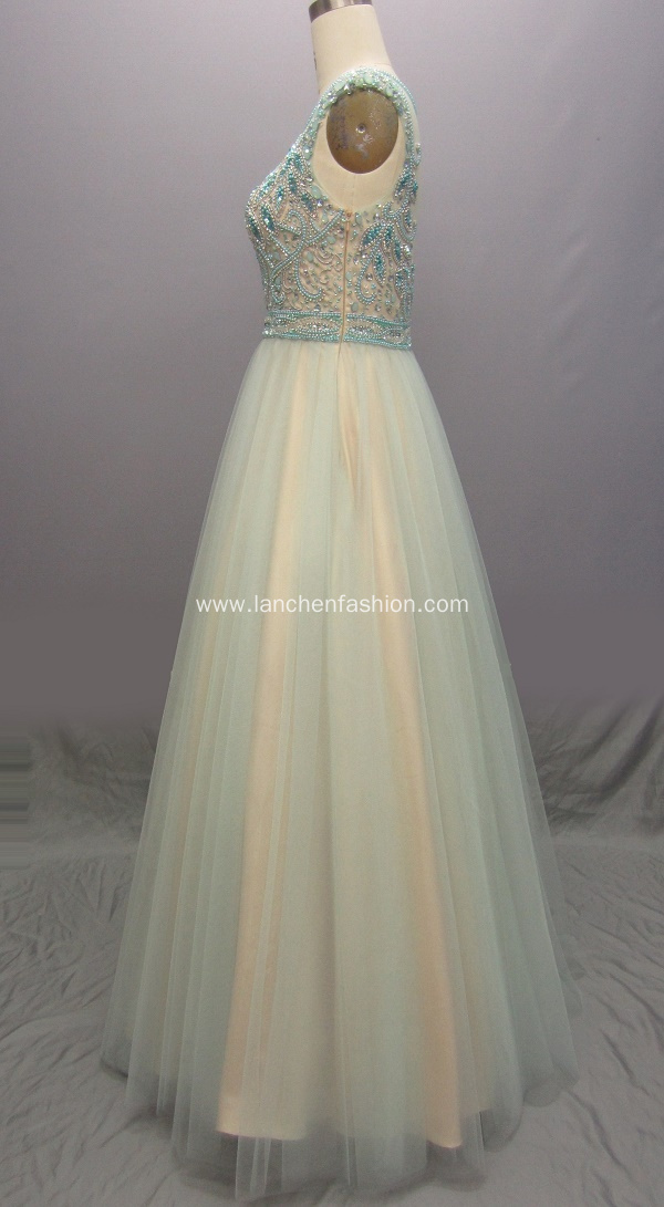Long Beaded Formal Ball Gown Prom Dresses