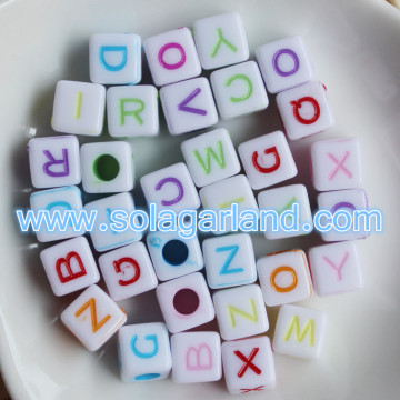 Plastic Loose Beads Material Alphabets Letter Square Cube Beads Charms 7MM
