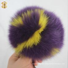 2016 Multicolor Fur Pom Poms Charms Letter Logo Keychains Keyring
