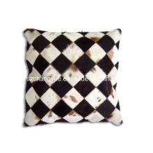 Natural Leath Cowhide Patch decoração almofadas