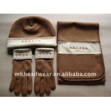 Sombrero de lana polar y pañuelo y guantes conjunto