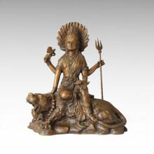 Estatua de Buda Escultura de bronce del Bodhisattva del tigre Tpfx-B73