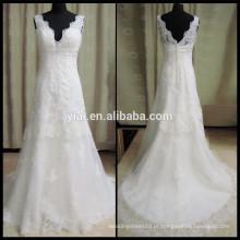 HH0200 v-neck aberto padrões de vestidos de noiva de renda baixa