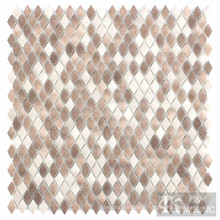 Beige Small Diamond Fabric Printing Glass Mosaic Tile