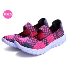 Rosa Bunte Frauen Handgewebte Schuhe