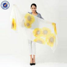 Écharpe de conception personnalisée Sun Flower imprimé à la main châle SWC106 Écharpe de pure Cashmere style chinois mince écharpe en cachemire
