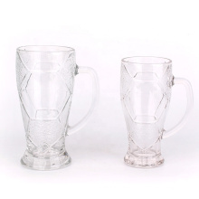 Football sports glass cup with handle wine beer drinking glass cup