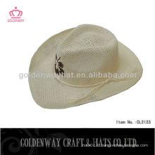 Chapeau de paille naturel chapeau de cow-boy tissu en papier mode de la plaine blanche nouvelle conception en gros