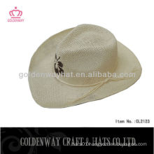 natural straw hat cowboy hat paper cloth white plain fashion new design wholesale