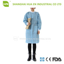 Dental disposable SMS lab coat with knitted collar and cuff
