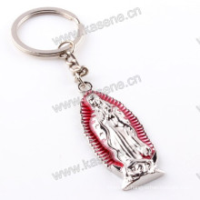 Fashion Red Catholic Keychain with Guadalupe Pendant