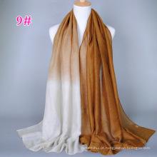 Novo design bonito cor desvanece-se menina glitter xaile islâmico cachecol hijab atacado