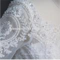 Luxus-Spitze Kurzarm schwere Perlen weiße Farbe Zhongshan Hochzeitskleid mit Boden Länge