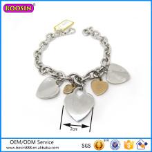 Atacado de alta qualidade de prata jóias coração forma charme pulseira