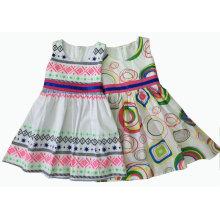 Moda vestido da menina do algodão em roupas de crianças (sqd-132-141)