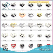 2015 silver heart charm family/mom/dad/son/daughter/hope/dream/true/love letter floating charms for living glass memory locket