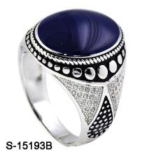 Últimas Design 925 Sterling Silver Esmalte homem anel com CZ.
