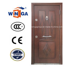 Porte blindée en placage en bois MDF en acier inoxydable Nigera Marmet (W-T06)