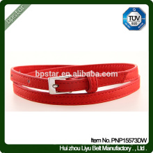 PU Belt Feminino para mulheres Vestido Jeans Strap Cintos Skinny Fashion Red Thin