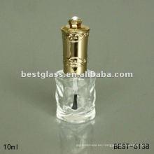 Botella de esmalte de uñas de 10 ml con tapa dorada, cepillo, esmalte de uñas