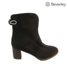 bottes à talons noirs femmes bottes de fourrure d'hiver