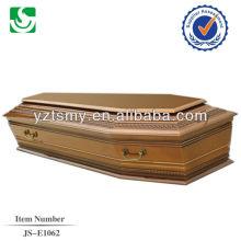 venda direta estilo europeu madeira adulto caixão de pinho feito em China
