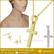 Dubai Gold Cross Pendentif Boucles d'oreilles en gros ensemble de bijoux
