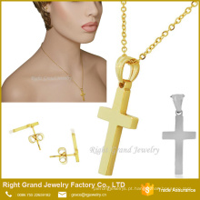 Dubai Gold Cross Pendant Earrings conjunto de jóias por atacado