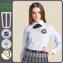 2016 Schuluniform Langes Hülsen-Mädchen-reines weißes Zink-Hemd