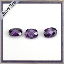 Charming Amethyst Double Checker Cut Synthetic CZ Stone