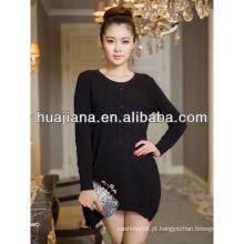 vestido de caxemira preto da mulher para o inverno