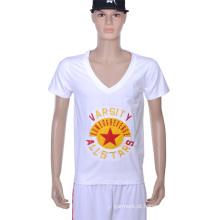 2016 Algodão da forma que imprime a camisa branca do pescoço T de V