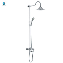 KH-07 2016 adjustable bath accessory bar sliding rail head hand shower set, luxury brass rain bath shower set with hand shower