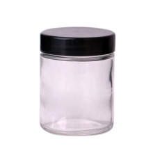 hot sell 75ml  2.5oz wide mouth cylinder glass storage glass food honey jar with black lid