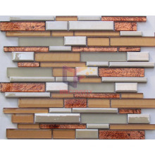 Warm Color Strip Ceramic Mix Glass Mosaic (CCFS649)