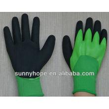 13g doble sumergido revestido nitrilo arenado acabado guantes resistentes a los productos químicos