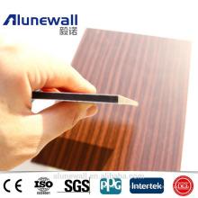 Alunewall 2017 meilleure vente Bois Motif Surface Panneau ACP ignifuge en aluminium panneau composite panneaux de décoation